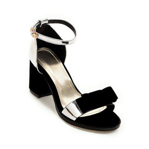 Unique Bow Color Block Sandals SILVER 40
