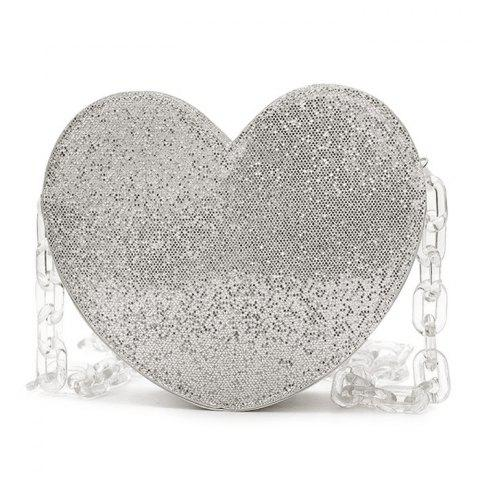 Glitter Heart Shaped Crossbody Bag - Silver