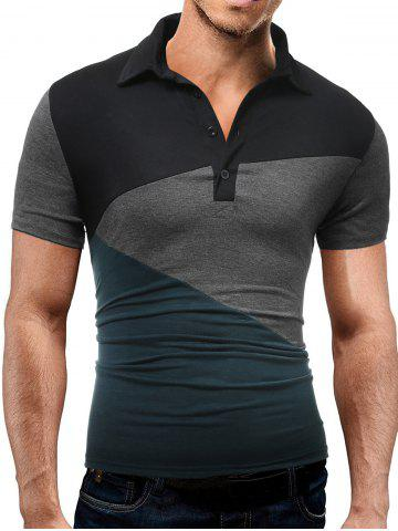 Color Block Slim Fit Strech Polo Shirt - Black And Green - 2xl
