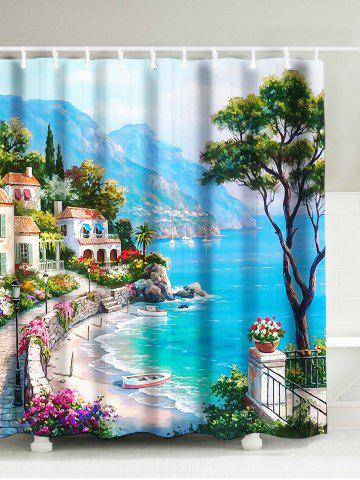 Trendy Oil Painting Sea Coast Landscape Shower Curtain