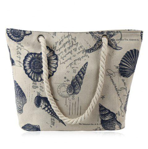 Chic Canvas Seashell Print Beach Bag OFF-WHITE
