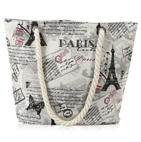 Outfits Printed Canvas Rope Beach Bag OFF-WHITE