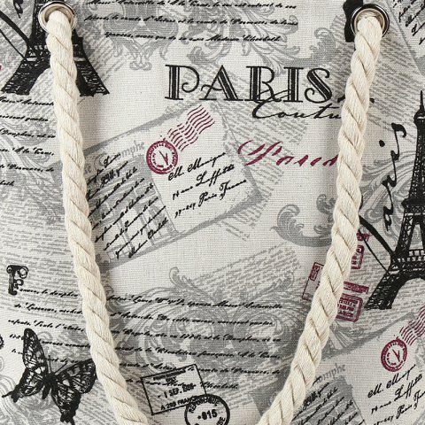 Unique Printed Canvas Rope Beach Bag - OFF-WHITE  Mobile