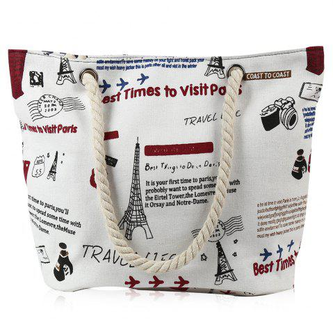 Unique Printed Canvas Rope Beach Bag WHITE