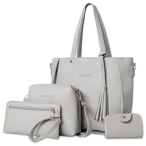 Unique Tassel 4 Pieces Tote Bag Set GRAY