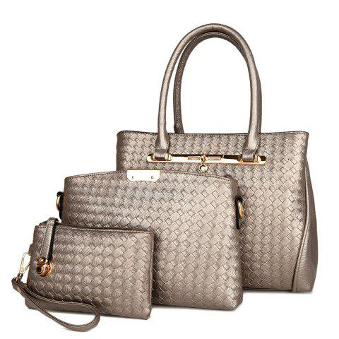 3 Pieces Woven Faux Leather Handbag Set - Champagne Gold - Horizontal
