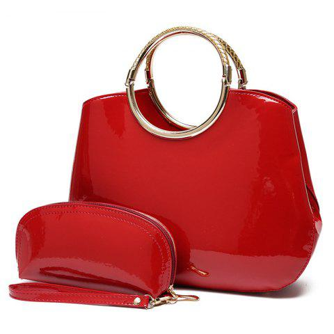 Patent Leather Wristlet and Handbag - RED