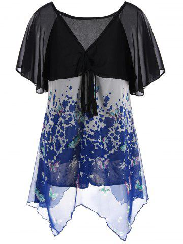 Trendy Butterfly Print Chiffon Plus Size Top - 2XL BLUE Mobile
