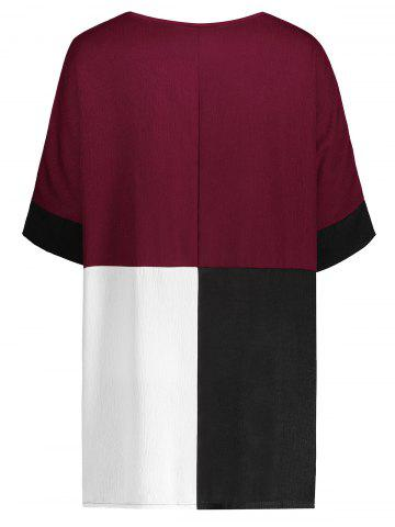 New Color Block Casual Plus Size Tee - XL RED Mobile