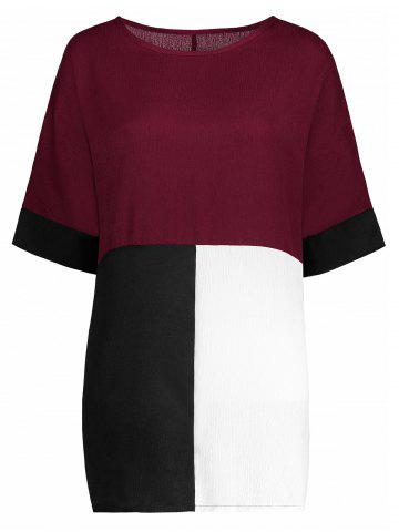 New Color Block Casual Plus Size Tee - 2XL RED Mobile