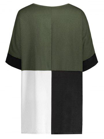 Cheap Color Block Casual Plus Size Tee - XL BLACKISH GREEN Mobile