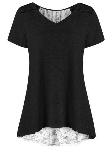 Outfits V Neck Plus Size High Low Hem Lace Trim Tee