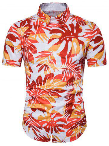 0d0434c76d9 2018 Ombre Leaves Print Cover Placket Hawaiian Shirt In Jacinth Xl ...