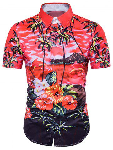 Tie Dye Floral Print Cover Placket Hawaiian Shirt Rouge L