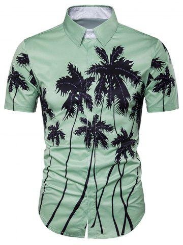 Copie d'impression de cocotier Placket Hawaiian Shirt Vert M