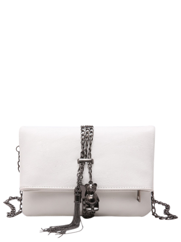 Buy Fold Down Chains Tassel Crossbody Bag WHITE