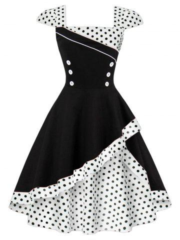 Outfit Cap Polka Dot Corset Vintage Dress WHITE XL