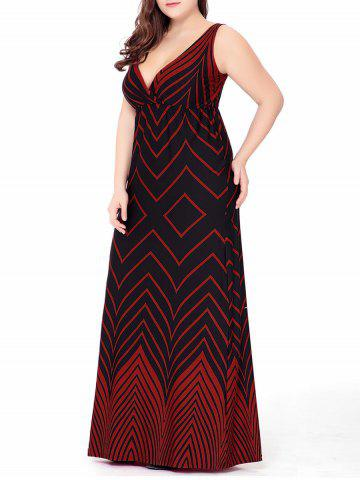 Plus Size Zigzag Long Plunge Formal  Dress - Red - 5xl