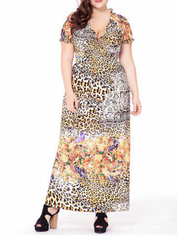 Plus size maxi dress with short sleeves