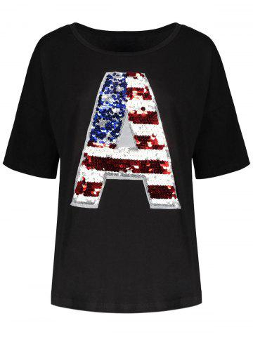 Fancy Sequin Plus Size American Flag Top