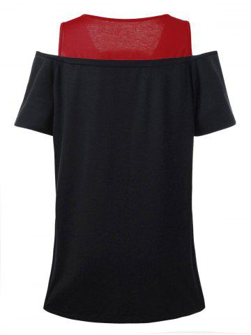 New Love Graphic Design Plus Size Cold Shoulder T-Shirt - 4XL RED Mobile