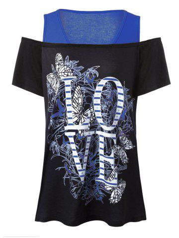 Buy Love Graphic Design Plus Size Cold Shoulder T-Shirt - 4XL BLUE Mobile