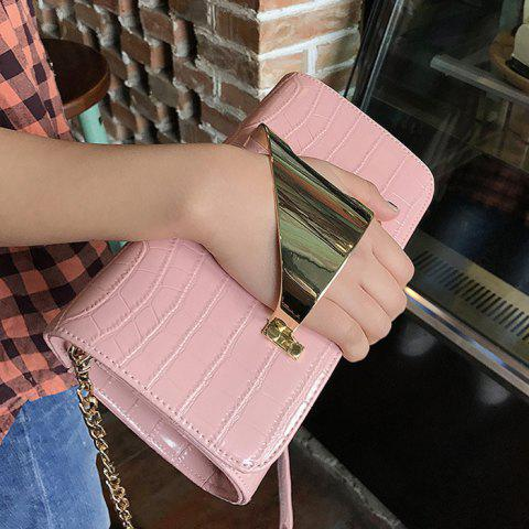 Outfits Metal Cuff Crocodile Embossed Clutch Bag - PINK  Mobile