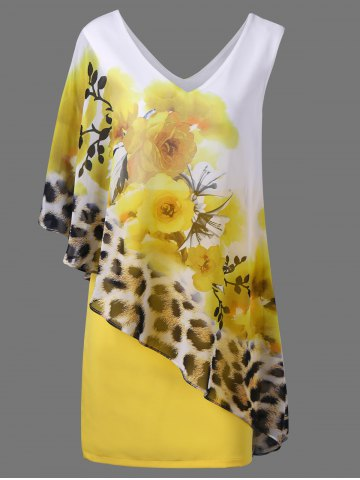 Floral and Leopard Print V Neck Capelet Overlay Party Dress - Yellow - 2xl
