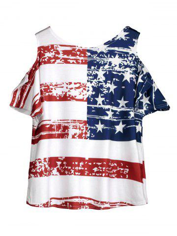 Fashion Cold Shoulder Distressed American Flag T-shirt - ONE SIZE WHITE Mobile