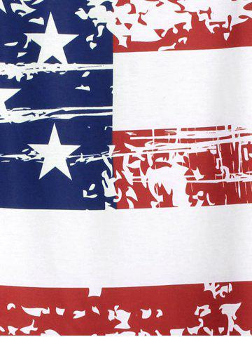 Outfits Cold Shoulder Distressed American Flag T-shirt - ONE SIZE WHITE Mobile