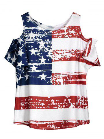 Cold Shoulder Distressed American Flag T-shirt - White - One Size