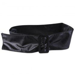 ArtificialLeather Adjustable Wide Waist Belt - BLACK