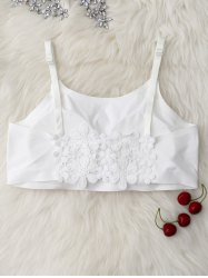 Floral Lace Insert Padded Crop Tank Top