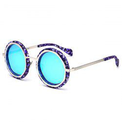 Metal Crossbar Round Mirror Reflective Sunglasses