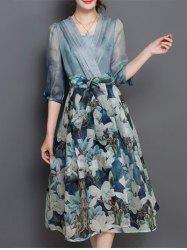 V Neck Floral Print Tea Length Dress - BLUE