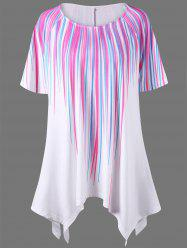 Plus Size Striped Painting Asymmetric T-Shirt