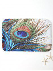 Antiskid Peacock Feather Print Bath Rug