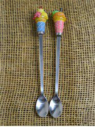 2PCS Ice Cream Decorated Long Handle Spoons