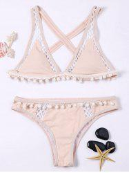 Back Criss Cross Openwork Padded Bikini With Pompon -