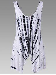 Tie Dye V Neck Asymmetrical Tank Top - WHITE AND BLACK