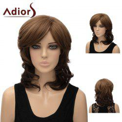 Adiors Side Bang Layered Shaggy Medium Natural Straight Synthetic Wig