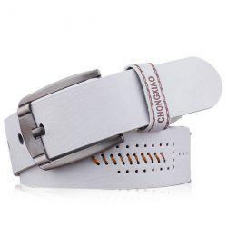 Artificial Leather Holes Embroidery Pin Buckle Belt