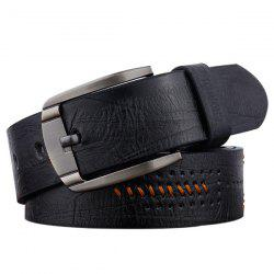 Artificial Leather Holes Embroidery Pin Buckle Belt - BLACK