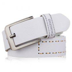 Hot Stamped Artificial Leather Letter Belt - WHITE