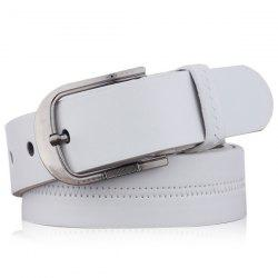 Embroidered Fake Leather Pin Buckle Belt - WHITE