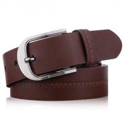 Embroidered Fake Leather Pin Buckle Belt - COFFEE