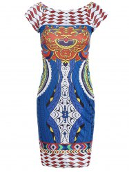 Tribal Print Short Sleeve Bodycon Dress