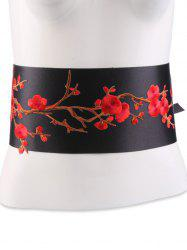 Banded Flowers Branch Embroidered Chinoiserie Corset Belt - BRIGHT RED