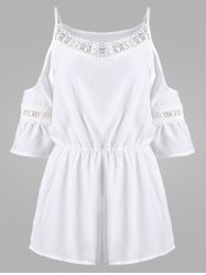 Lace Insert Cold Shoulder Chiffon Romper