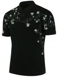 Floral Print Slim Fit Polo T Shirt